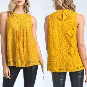 DEBBIE Lace Top - MUSTARD